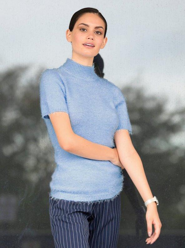 Jersey mujer de cuello alto con manga corta suave tricot