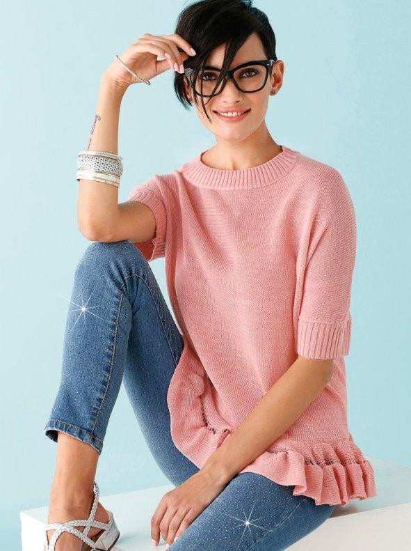 Jersey de manga corta mujer con volante en suave punto tricot