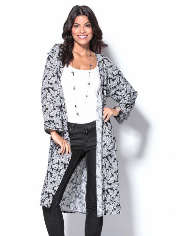 Women's long jacket kimono stamped paisley TREND CAPSULE BY VENCA