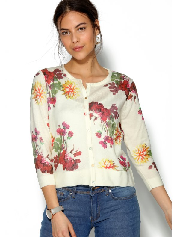 Women's flowered knit cardigan jacket with cashmere feel