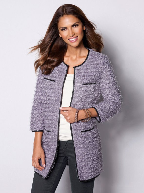 Chaqueta larga mujer tricot