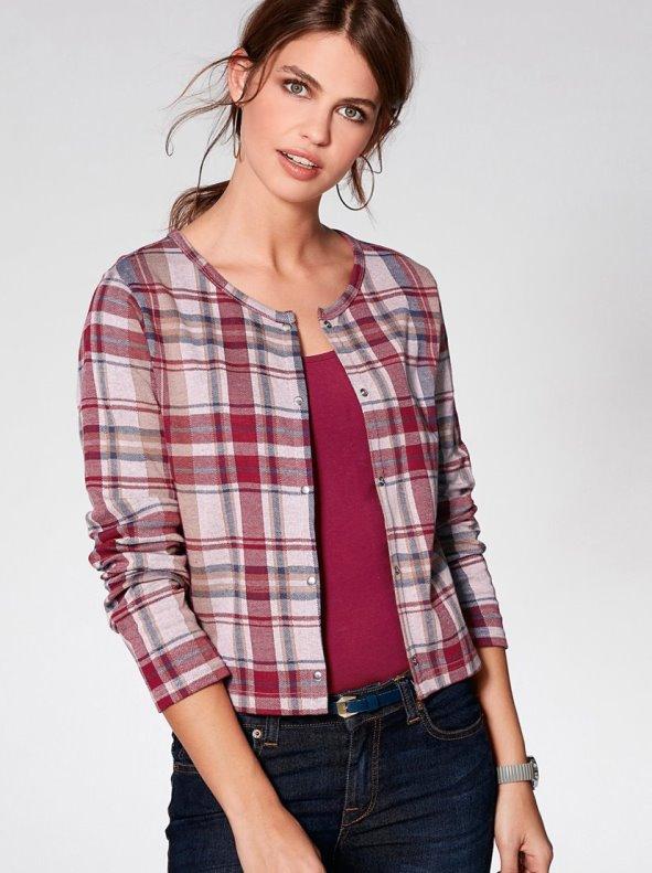 Jacket with women's plaid pattern soft plush VENCA