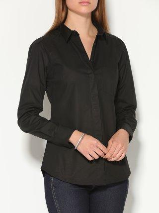 Camisa popelín mujer lisa con botones de nácar VENCA