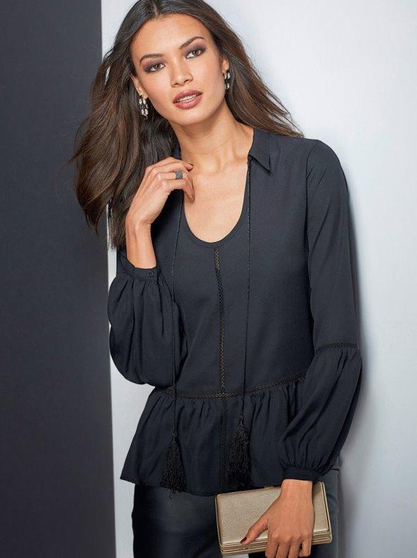 Blusa manga larga de vestir mujer con encaje y volante