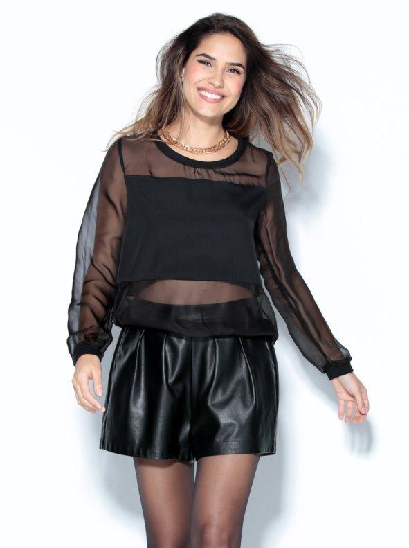 Blusa de vestir mujer con transparencias negra