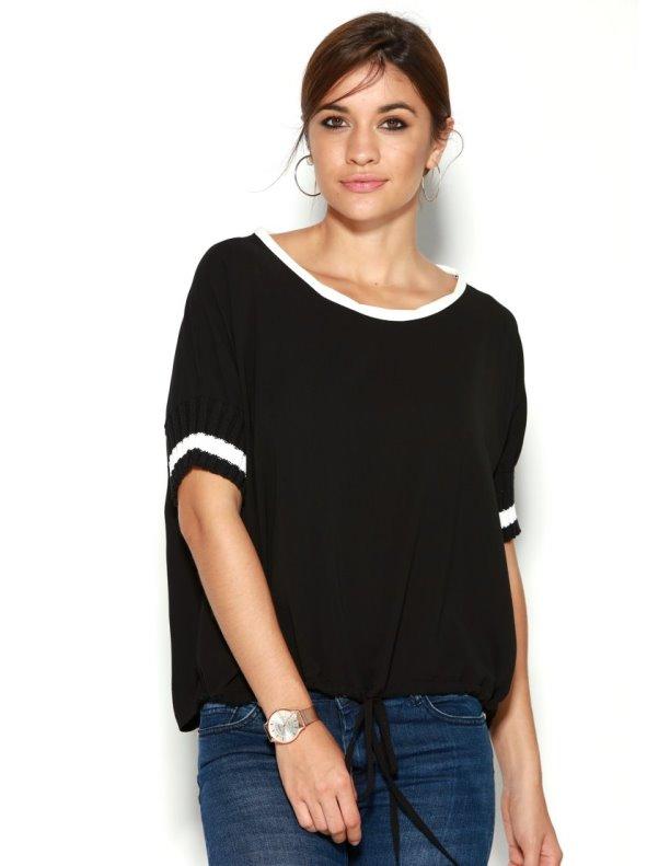 Blusa mujer bicolor manga corta con puño en canalé y bajo ajustable