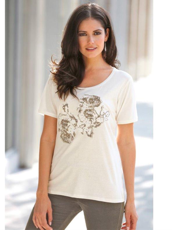 Camiseta mujer con diseño bordado lentejuelas irisadas