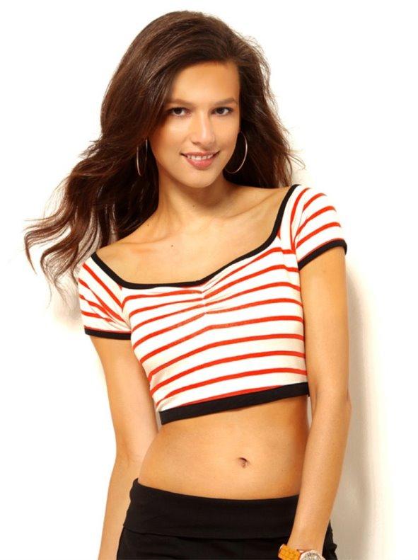 Camiseta crop top mujer manga corta rayas