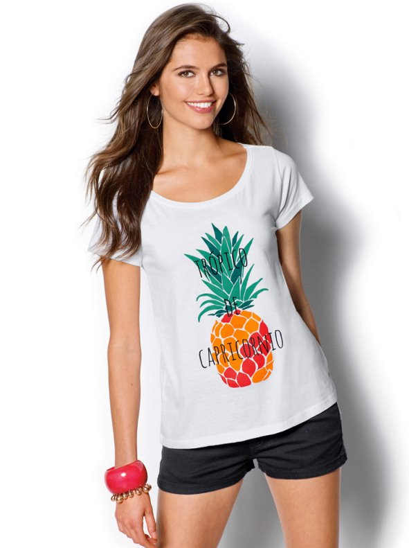Camiseta mujer manga corta estampada piña VENCA