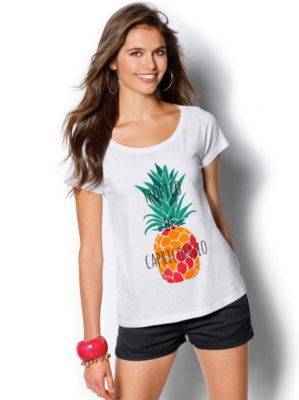 Camiseta mujer manga corta estampada piña