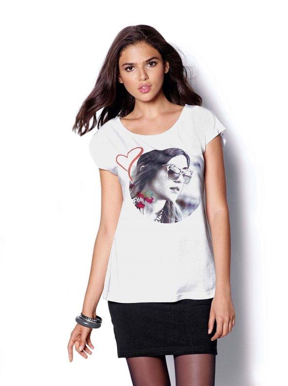 Camiseta mujer manga corta con estampado fotográfico