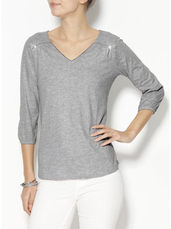 Camiseta mujer manga 3/4 de algodón con vivos de fantasía