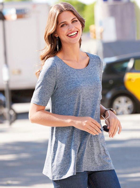 Camiseta mujer manga corta evasé de algodón elástico