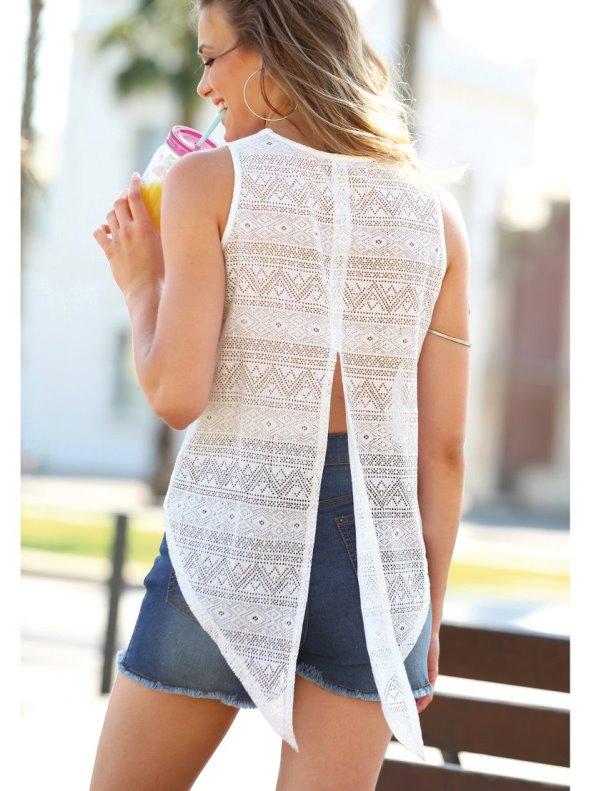 Camiseta sin mangas de algodón mujer con espalda de encaje