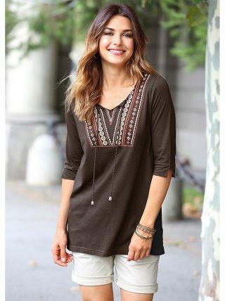 Camiseta étnica mujer de algodón con escote caftán VENCA
