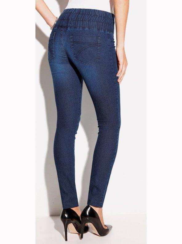 Tregging denim trousers women in elastic denim fabric
