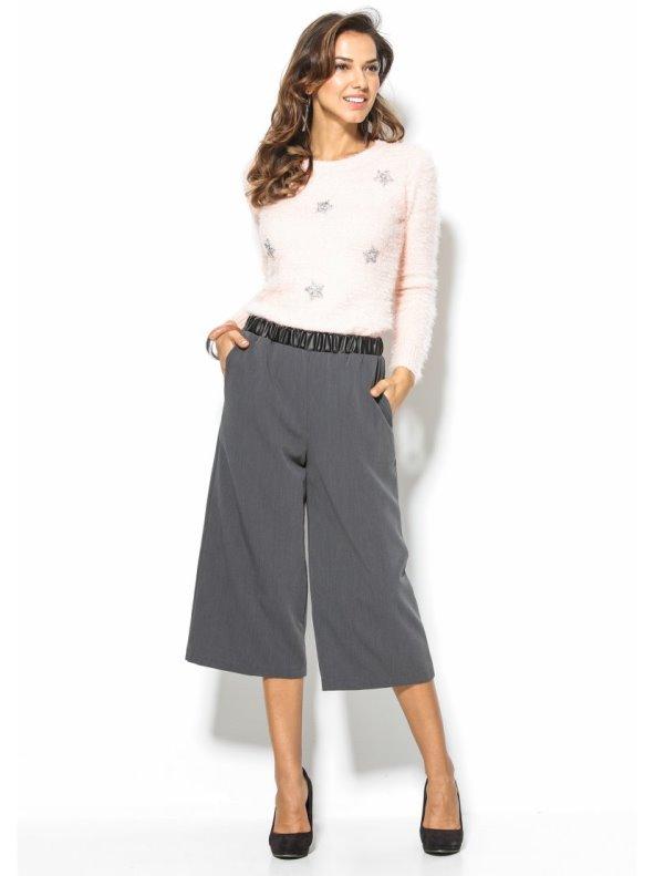 Pantalón ancho tipo culotte mujer cintura símil piel . 7c2c27b33bb8