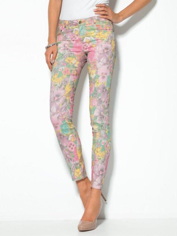 Pantalón largo mujer estampado flores tejido elástico