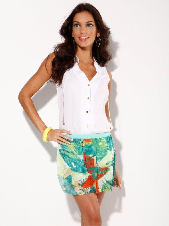 Falda pantalón short mujer de punto símil piqué
