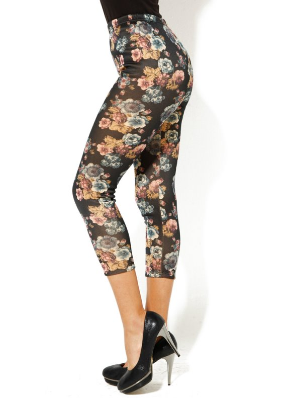 Pantalón legging mujer punto con felpa flores
