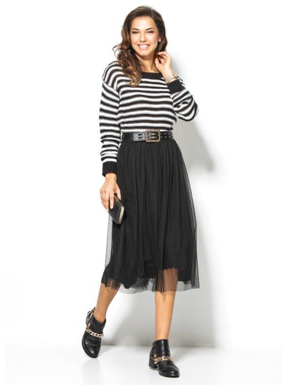 Falda negra mujer de tul forrada de punto VENCA