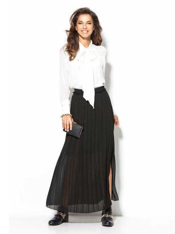 Falda larga mujer plisada negra