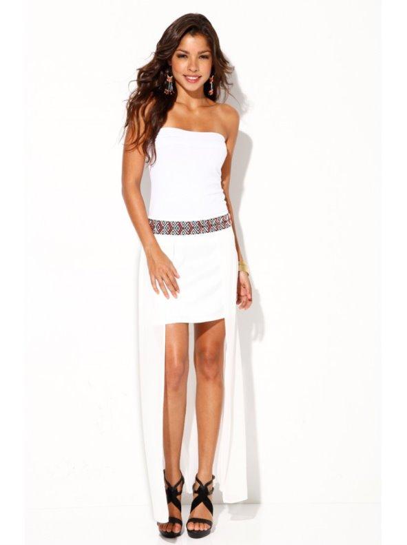 Falda larga mujer corte asimétrico con cenefa VENCA