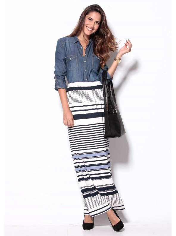 Falda larga de punto elástico rayas