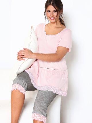 Pijama con entredós y encaje tallas grandes