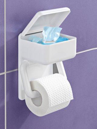 Portarrollos papel higiénico y toallitas 2 en 1
