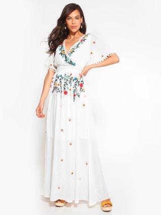 Vestido bordado flores guipur TREND CAPSULE BY VENCA