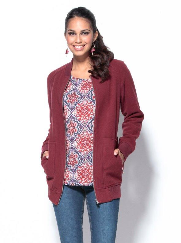 Boutique en ligne 05971 d2092 Chaqueta mujer con cremallera tacto lana burdeos