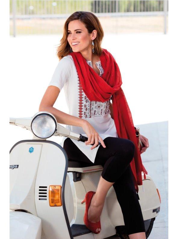 Conjunto 3 piezas camiseta larga legging y foulard VENCA