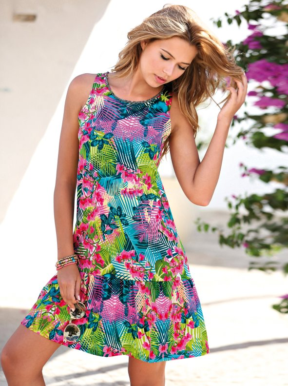 Women's tropical printed sleeveless dress with flounce