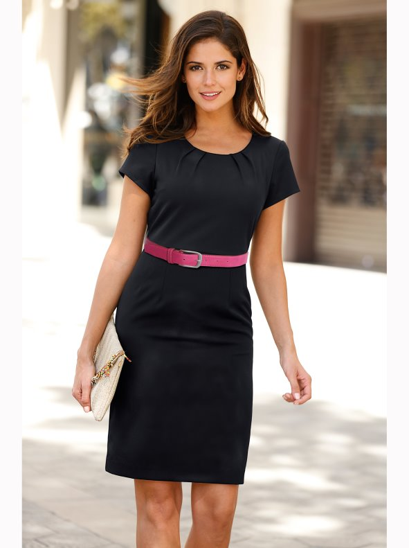 244cf875a Vestido elegante mujer manga corta tejido elástico - Venca - 140734