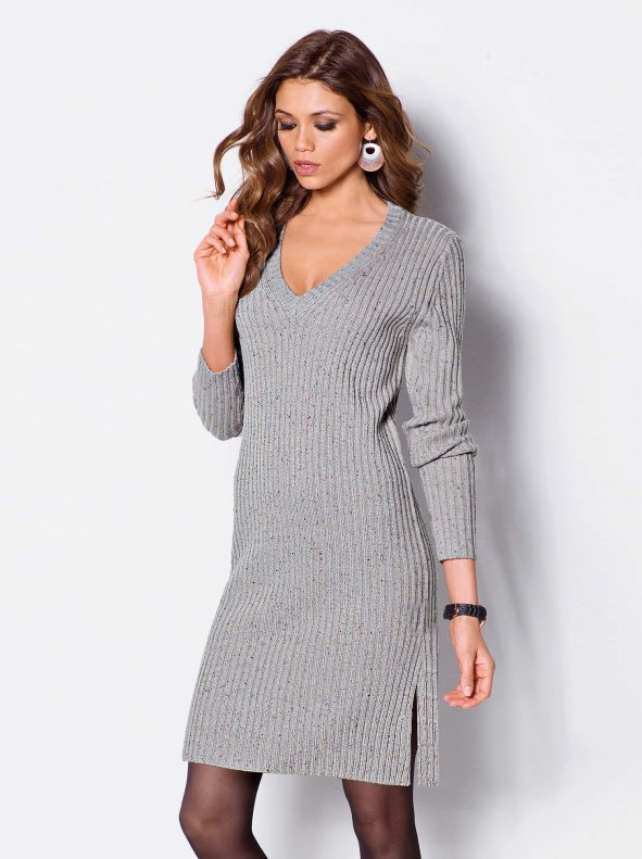Women dress with long sleeves in soft point tricot
