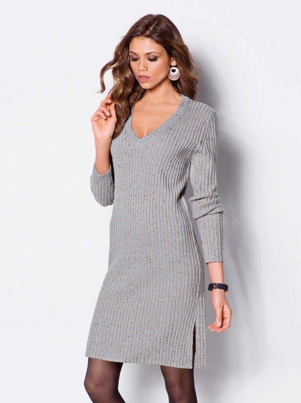 Vestido mujer manga larga punto tricot