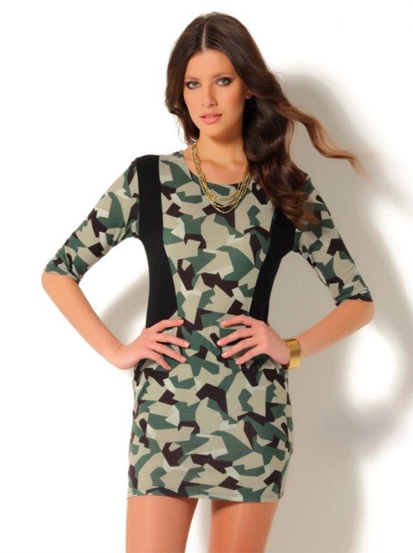Vestido mujer manga 3/4 estampado estilo militar punto VENCA