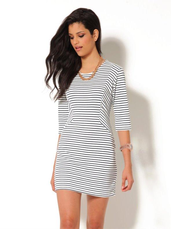 Vestido mujer manga 3/4 rayas marineras punto