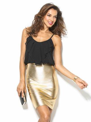 Vestido de fiesta tirantes con falda dorada TREND CAPSULE BY VENCA