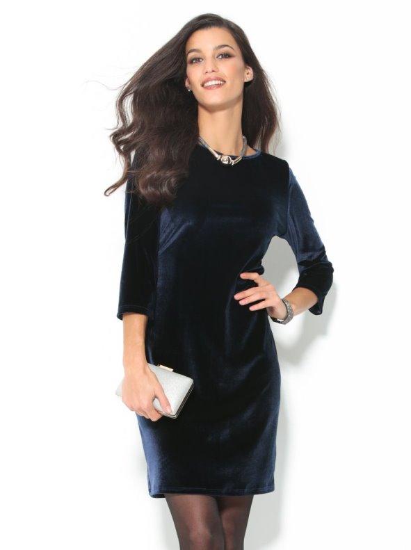e9bf3b3a6 Vestido de fiesta manga 3 4 terciopelo azul - Venca - 144795