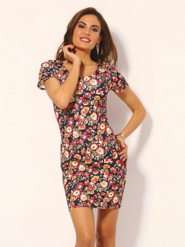Vestido Corto Flores De Manga Corta Punto Elástico