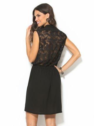 Vestido negro de fiesta con espalda de blonda TREND CAPSULE BY VENCA