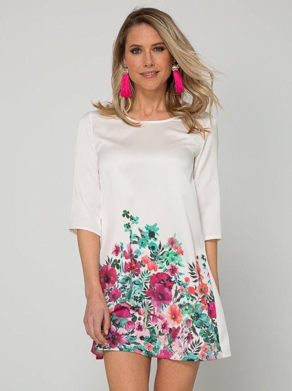 Vestido de manga 3/4 con estampado floral acabado satinado