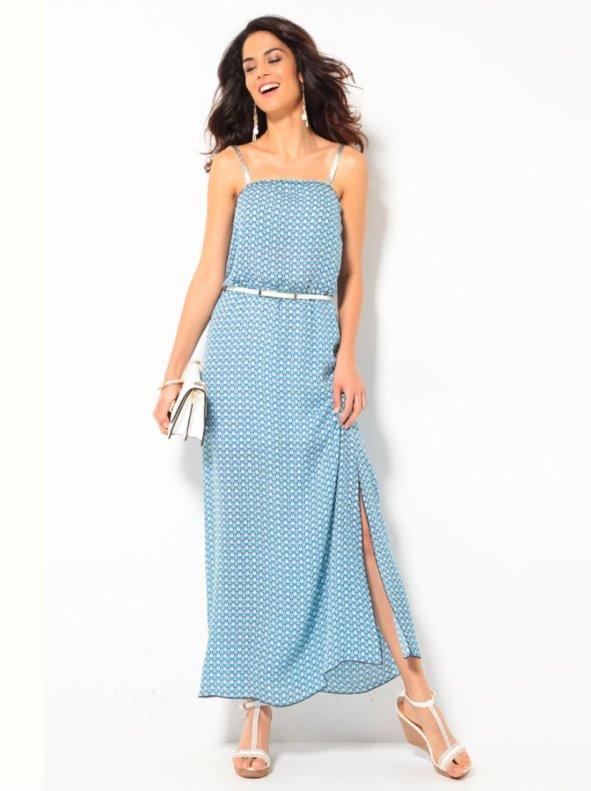 59476ea03e Vestido largo mujer con tirantes plateados TREND CAPSULE BY VENCA