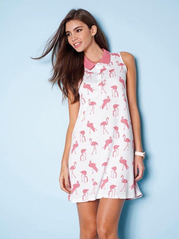 Vestido corto sin mangas de algodón con cuello polo y flamencos estampados