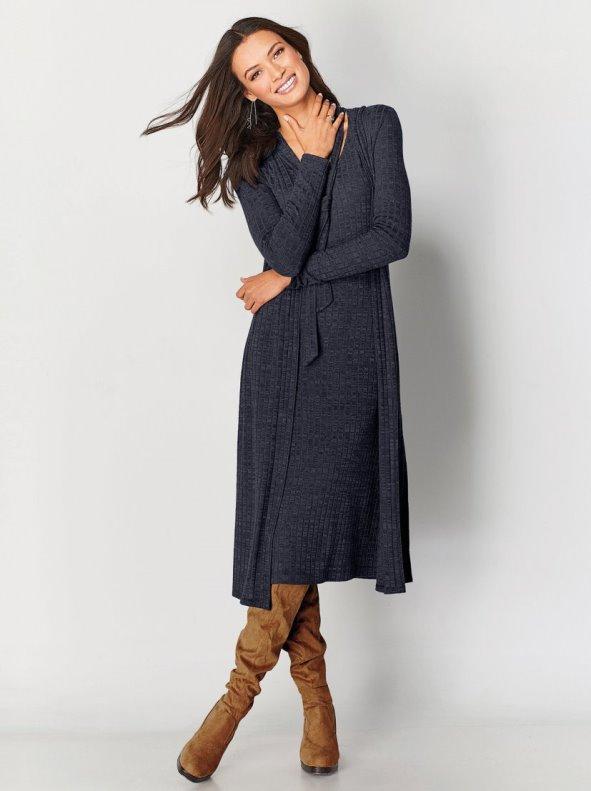 Vestido de manga 3/4 suave punto canalé con bufanda incorporada