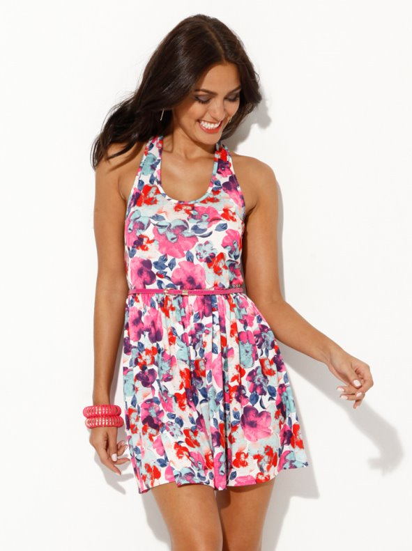 Vestido mujer sin mangas de punto estampado flores