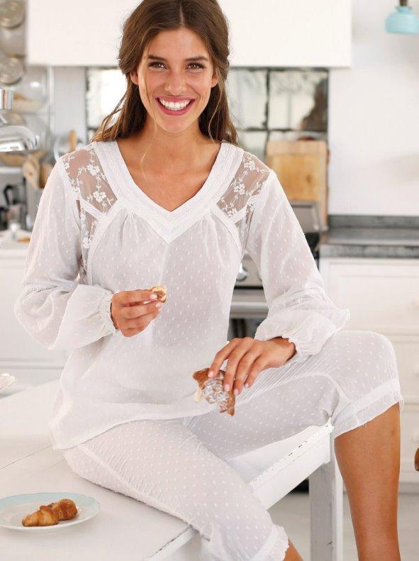 Pijama 2 piezas manga larga mujer de algodón blanco S