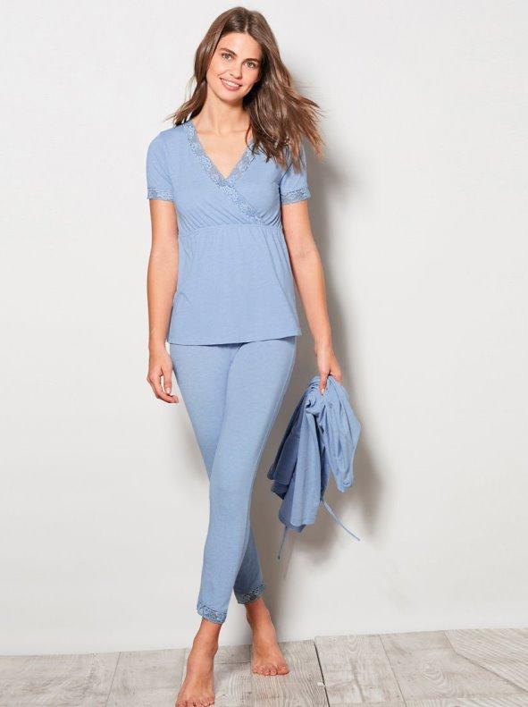 Conjunto pijama 3 piezas punto con encaje